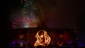 Shakespeares 450th Birthday Fireworks Stratford Royal Shakespeare Theatre Photo by Lucy Barriball c RSC 9479