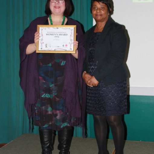 Deb is honoured with a Stephen Lawrence Charitable Trust Women's Award 2013.