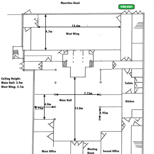 Rothbury Hall Measurements Plan